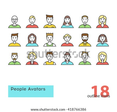 Set of modern outline People Avatars. Colorful. Stock vector. - stock vector