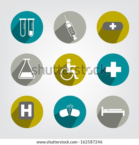 Set of modern shadows medical icon.  - stock vector