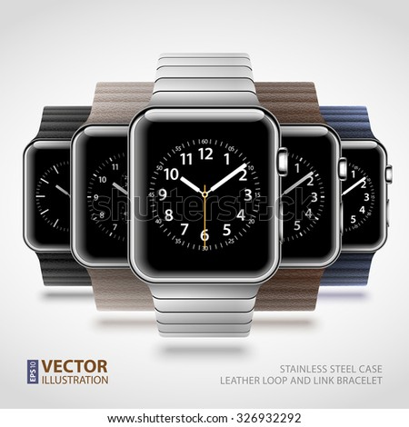 Set of 5 modern shiny smart watches with leather loops and steel bracelet isolated on white background. RGB EPS 10 vector illustration - stock vector