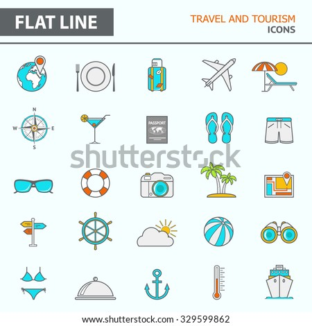 Set of modern simple line icons in flat design. Trendy infographic travel and tourism concept elements for banners, layouts, corporate  brochures, templates and web sites. Vector eps10 illustration - stock vector