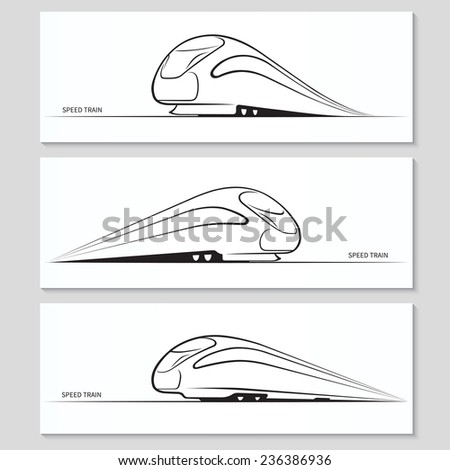 Set of modern speed train silhouettes and contours. Vector illustration - stock vector