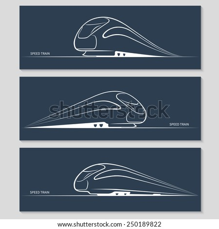 Set of modern speed train silhouettes isolated on dark background. Vector illustration - stock vector