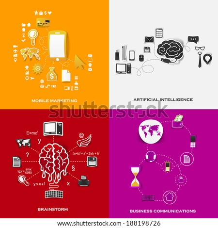 Set of modern stickers. Concept of mobile marketing, artificial intelligence, brainstorm, business communications. Vector eps10 illustration - stock vector