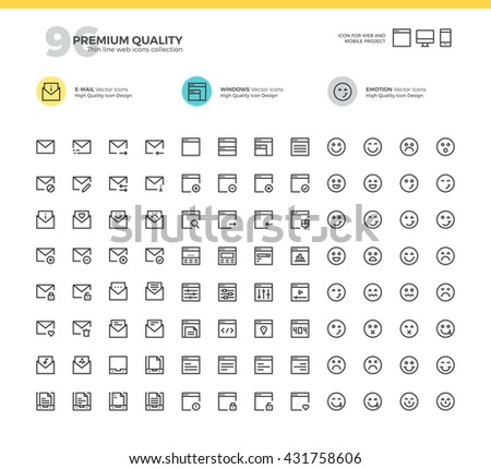 Set of modern thin line icons for E-mail, Web Layout, Emotion.  - stock vector