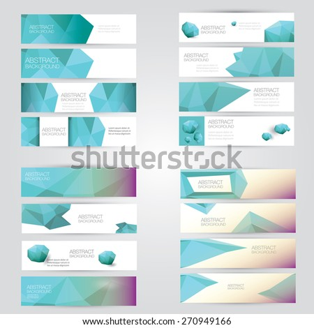 set of modern turquoise vector banners with polygonal background - stock vector