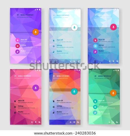 Set of 6 modern user interface (ux, ui) screen template for mobile smart phone or web site. Transparent blurred material design ui with icons.  - stock vector