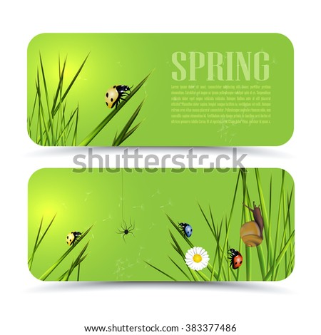Set of modern vector banners with spring theme  - stock vector