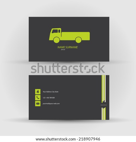 Set of modern vector business card , driver - front and mack side - stock vector