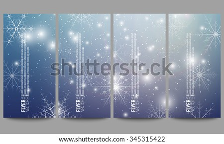Set of modern vector flyers. Blue abstract winter background. Christmas vector style with snowflakes. - stock vector