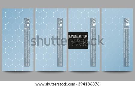 Set of modern vector flyers. Chemistry pattern, hexagonal design vector illustration - stock vector