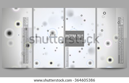 Set of modern vector flyers. Molecular research, illustration of cells in gray, science vector background.