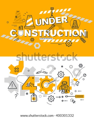Set of modern vector illustration concepts of terms under construction and 404 . Thin line flat design background and banners for website and mobile website, easy to use and highly customizable. - stock vector