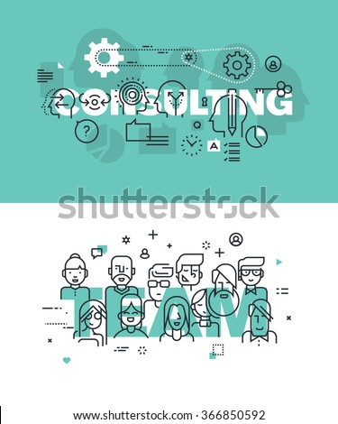 Set of modern vector illustration concepts of words consulting and team. Thin line flat design banners for website and mobile website, easy to use and highly customizable. - stock vector