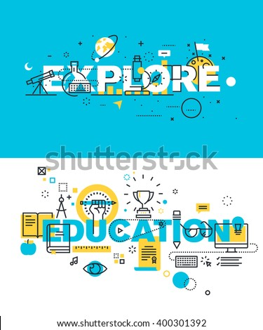 Set of modern vector illustration concepts of words explore and education. Thin line flat design banners for website and mobile website, easy to use and highly customizable. - stock vector