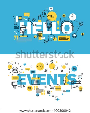 Set of modern vector illustration concepts of words hello and events. Thin line flat design banners for website and mobile website, easy to use and highly customizable. - stock vector