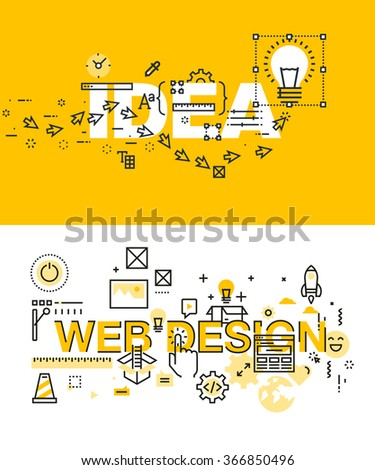Set of modern vector illustration concepts of words idea and web design. Thin line flat design banners for website and mobile website, easy to use and highly customizable. - stock vector