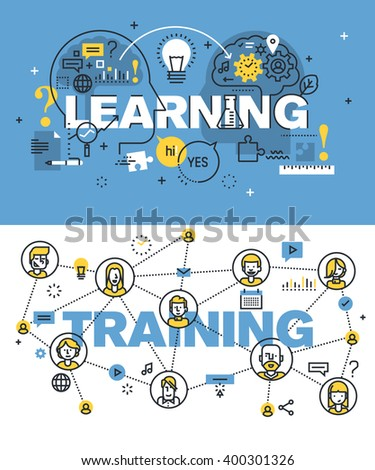 Set of modern vector illustration concepts of words learning and training. Thin line flat design banners for website and mobile website, easy to use and highly customizable. - stock vector
