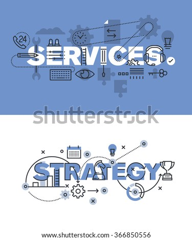 Set of modern vector illustration concepts of words services and strategy. Thin line flat design banners for website and mobile website, easy to use and highly customizable. - stock vector