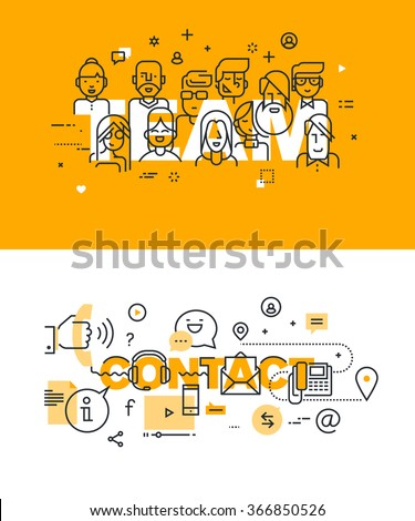 Set of modern vector illustration concepts of words team and contact. Thin line flat design banners for website and mobile website, easy to use and highly customizable. - stock vector