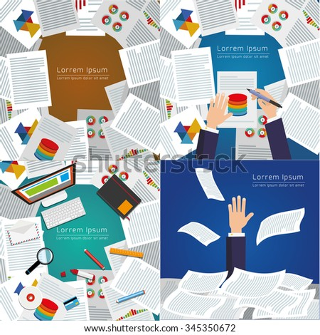 Set of modern vector illustration. Top view of desk background with digital devices, office objects with papers and documents. - stock vector