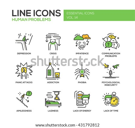 Set of modern vector line design icons and pictograms of common human psychological problems. Crisis, impatience, depression, panic attacks, insecurity, phobia, addictions, aimlessness, laziness - stock vector