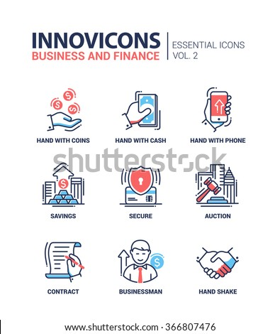 Set of modern vector office thin line flat design icons and pictograms. Collection of business and finance infographics objects and web elements - stock vector