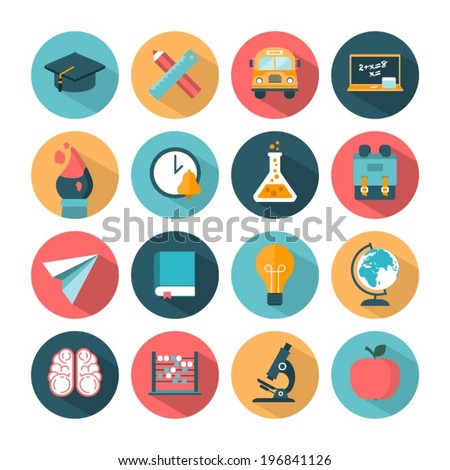 set of modern vector school icons - stock vector