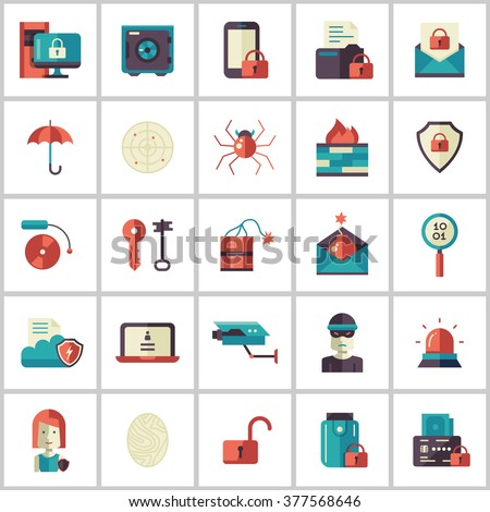Set of modern vector security flat design icons and pictograms. Collection of information protection and safety infographics objects and web elements - stock vector