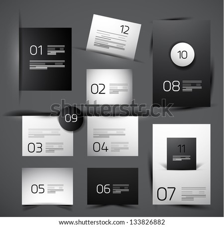 Set of modern web shadow design templates - stock vector