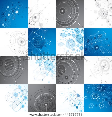 Set of modular Bauhaus 3d vector backdrops, created from geometric figures like hexagons, circles and lines. For use as advertising poster or banner design. Perspective abstract mechanical schemes. - stock vector