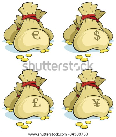 Set of money bags isolated on white background - Vector - stock vector