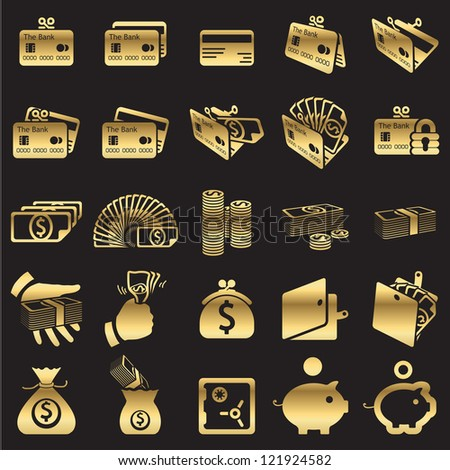 Set of money icons -golden line - stock vector