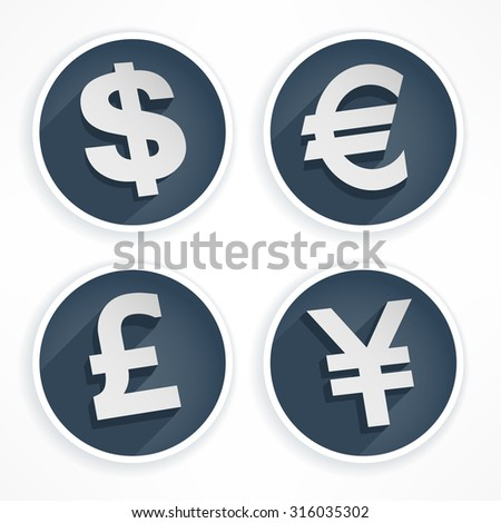 Set of money symbols in round and grey color, vector illustration - stock vector