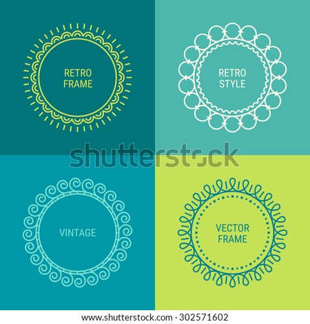 Set of mono line vintage frames on Blue, Dark Blue, Cyan and Green background. Perfect for greeting cards, wedding invitations, retro parties. Vector logo template, labels and badges - stock vector