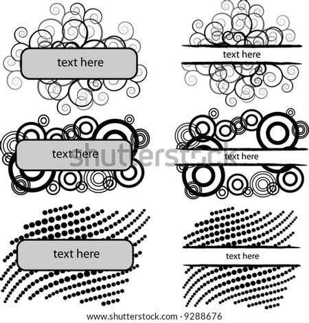set of 6 monochrome banners,vector sketch just add your own text - stock vector