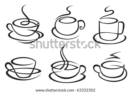 set of monochrome coffee cups - stock vector
