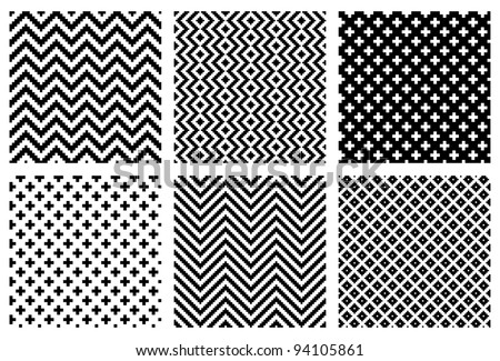 Set of 6 monochrome elegant seamless patterns - stock vector
