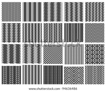 Set of 20 monochrome elegant seamless patterns - stock vector