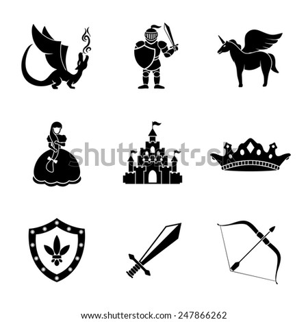 Set of monochrome fairytale (game) icons with - sword, bow, shield, knight, dragon, princess, crown, unicorn, castle. Vector - stock vector