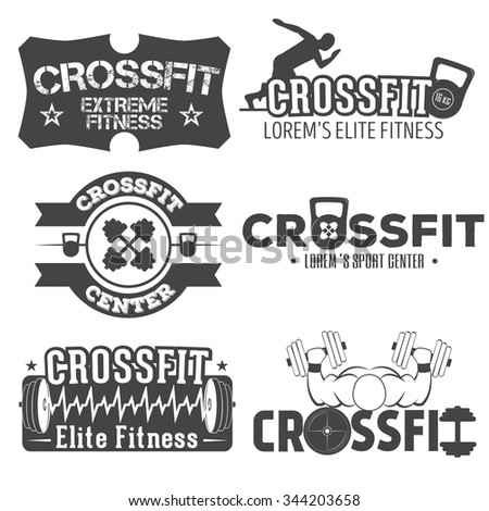 Set Monochrome Fitness Crossfit Emblems Fitness Stock Vector