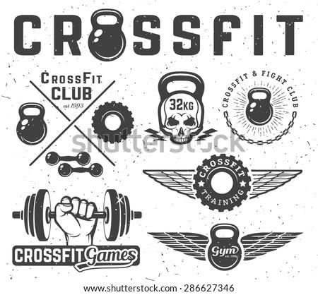 Set of monochrome fitness emblems, labels, badges, logos and designed elements. - stock vector