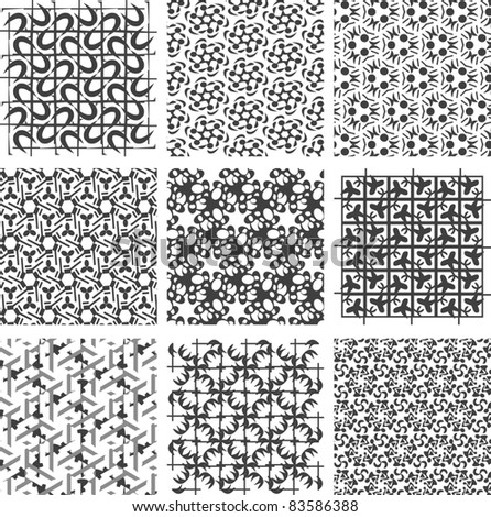 Set of monochrome geometric patterns. backgrounds collection. vector