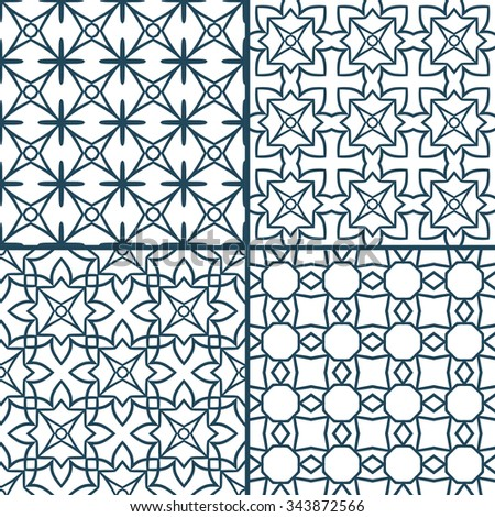 Set of monochrome geometric seamless patterns with interweaving lines, circles and cross