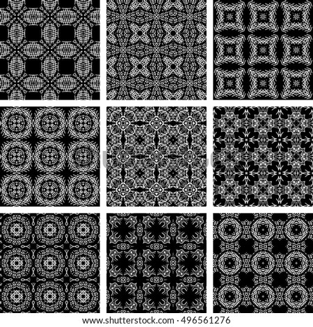 Set Of 9 Monochrome Geometrical Patterns. Black And White Texture In Arabic, Oriental Style. Seamless Vector Backgrounds. Pattern Set. Arabic Pattern Eps. Arabic Pattern JPEG. Arabic  Pattern.