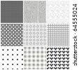 Set of monochrome geometrical patterns. Vector, EPS 8 - stock photo
