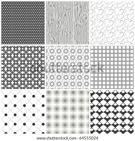 Set of monochrome geometrical patterns. Vector, EPS 8 - stock vector