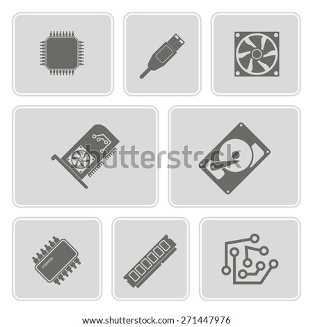 set of monochrome icons with computer hardware and components for your design - stock vector