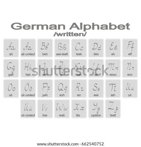Set Monochrome Icons German Alphabet Your Stock Vector 662540752
