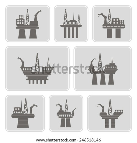 set of monochrome icons with oil platform for your design  - stock vector