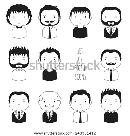 Set of monochrome male faces icons. Cartoon hand drawn faces sketch pictogram for your design. Collection of cute man avatar. Businessman. Trendy doodle style. Vector illustration. - stock vector